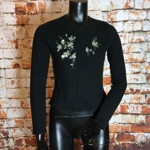 Free People Black Sweater with Beaded Design